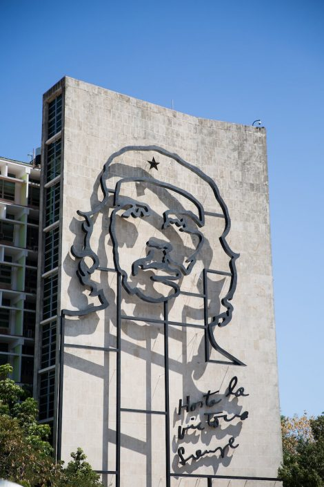 """Mural"" of Che Guevara on Ministry of Interior building in Plaza de la Revolución (Revolution Square)"